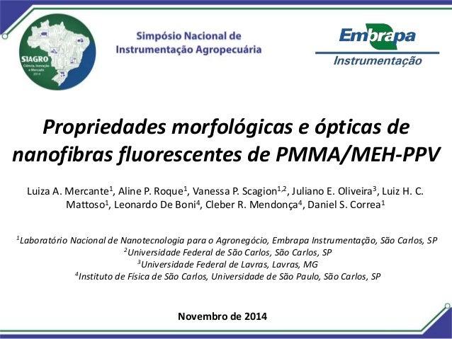 Propriedades morfológicas e ópticas de  nanofibras fluorescentes de PMMA/MEH-PPV  Luiza A. Mercante1, Aline P. Roque1, Van...