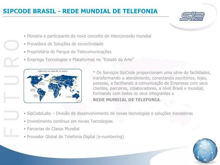 SIPCODE BRASIL - REDE MUNDIAL DE TELEFONIA <ul><li>Pioneira e participante do novo conceito de interconexão mundial </li><...