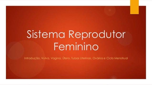 Sistema Reprodutor Feminino Introdução, Vulva, Vagina, Útero, Tubas Uterinas, Ovários e Ciclo Menstrual