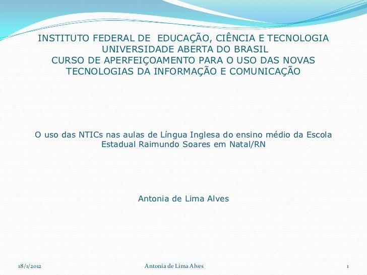 INSTITUTO FEDERAL DE EDUCAÇÃO, CIÊNCIA E TECNOLOGIA                   UNIVERSIDADE ABERTA DO BRASIL         CURSO DE APERF...