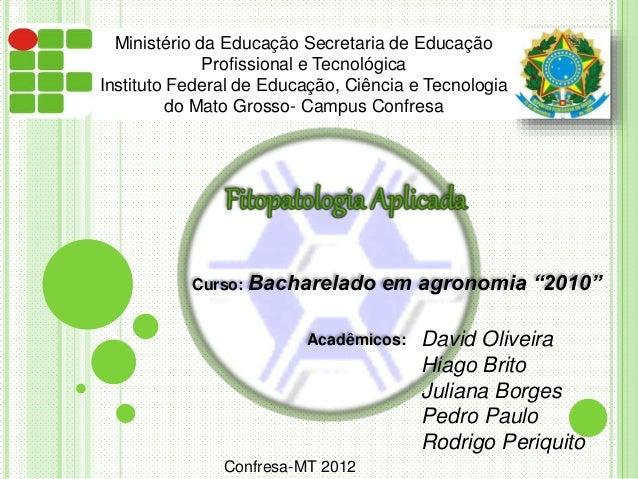"""Curso: Bacharelado em agronomia """"2010"""" Acadêmicos: David Oliveira Hiago Brito Juliana Borges Pedro Paulo Rodrigo Periquito..."""