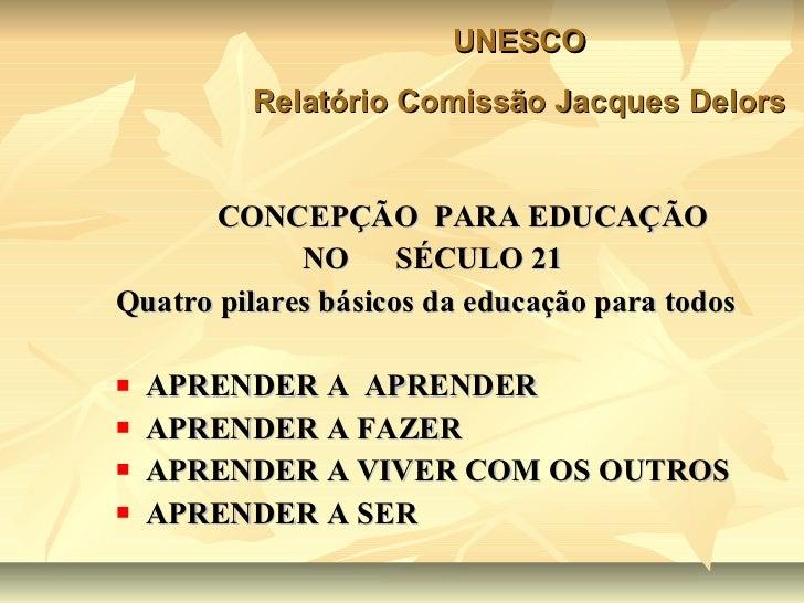 <ul><li>CONCEPÇÃO  PARA EDUCAÇÃO  </li></ul><ul><li>NO  SÉCULO 21 </li></ul><ul><li>Quatro pilares básicos da educação par...