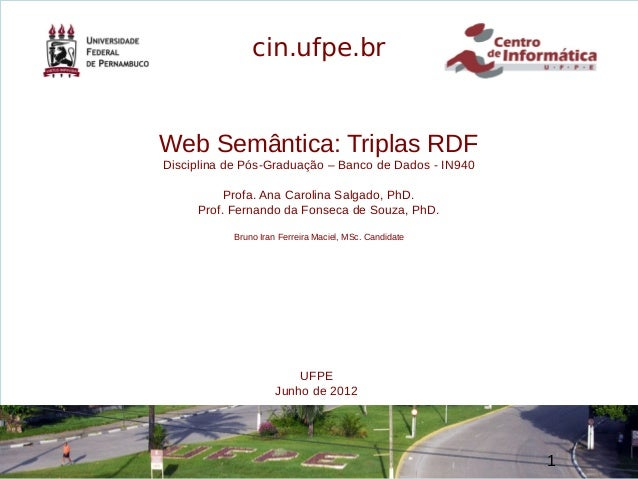 de 62 wwwwww Web Semântica: Triplas RDF Disciplina de Pós-Graduação – Banco de Dados - IN940 Profa. Ana Carolina Salgado, ...