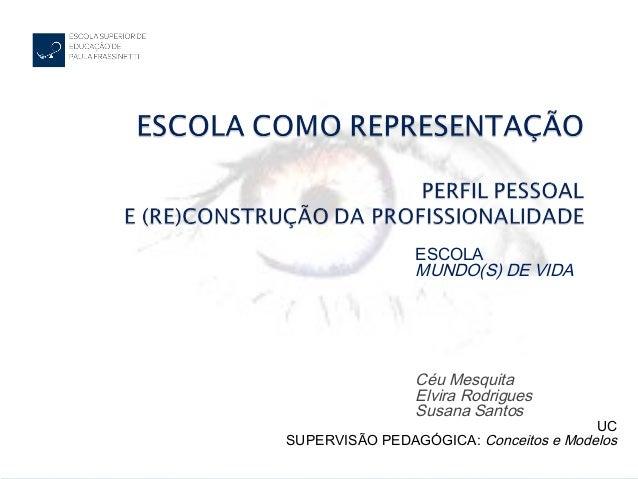 ESCOLAMUNDO(S) DE VIDACéu MesquitaElvira RodriguesSusana SantosUCSUPERVISÃO PEDAGÓGICA: Conceitos e Modelos