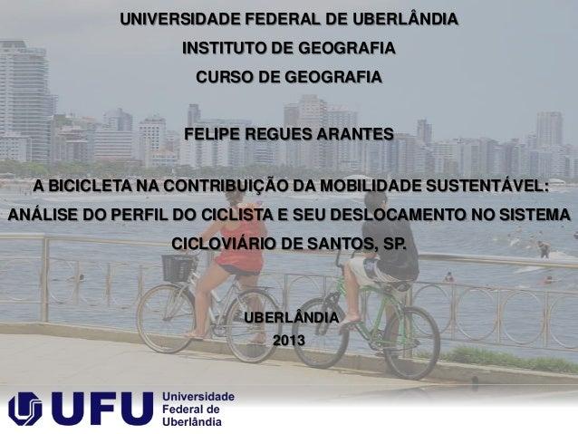 UNIVERSIDADE FEDERAL DE UBERLÂNDIA INSTITUTO DE GEOGRAFIA CURSO DE GEOGRAFIA  FELIPE REGUES ARANTES A BICICLETA NA CONTRIB...