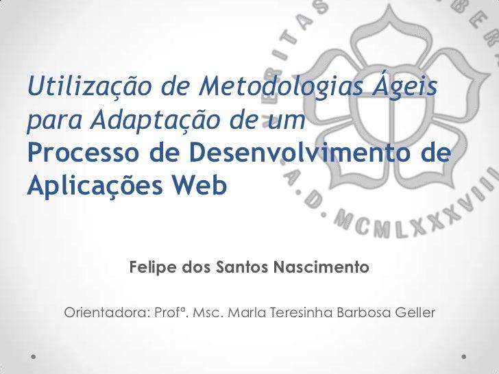 Utilização de Metodologias Ágeispara Adaptação de umProcesso de Desenvolvimento deAplicações Web           Felipe dos Sant...