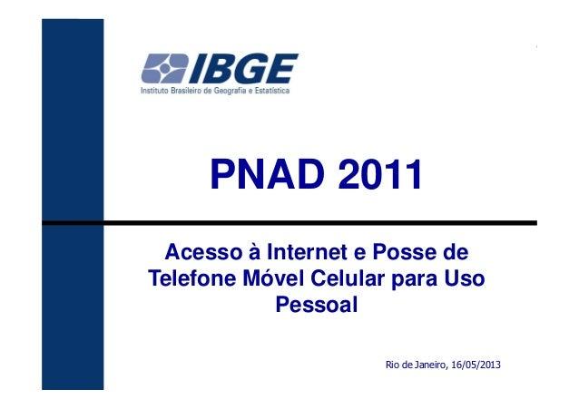 111PNAD 2011Rio de Janeiro, 16/05/2013Acesso à Internet e Posse deTelefone Móvel Celular para UsoPessoal