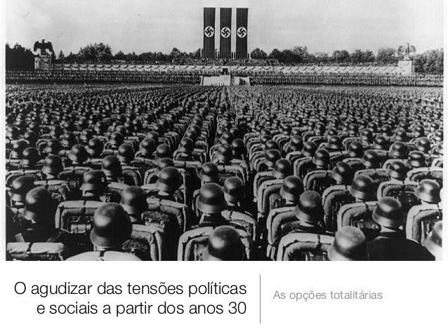 O agudizar das tensões políticas e sociais a partir dos anos 30  As opções totalitárias