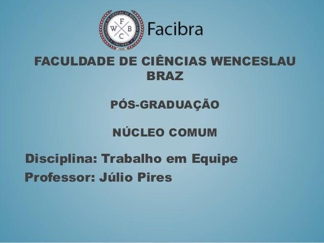 FACULDADE DE CIÊNCIAS WENCESLAU BRAZ PÓS-GRADUAÇÃO NÚCLEO COMUM Disciplina: Trabalho em Equipe Professor: Júlio Pires