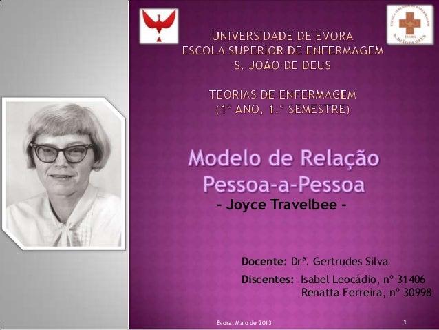 Docente: Drª. Gertrudes Silva- Joyce Travelbee -Discentes: Isabel Leocádio, nº 31406Renatta Ferreira, nº 30998Évora, Maio ...