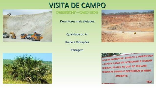 VISITA DE CAMPOVISITA DE CAMPO Qualidade do Ar Ruído e Vibrações Paisagem Descritores mais afetados: