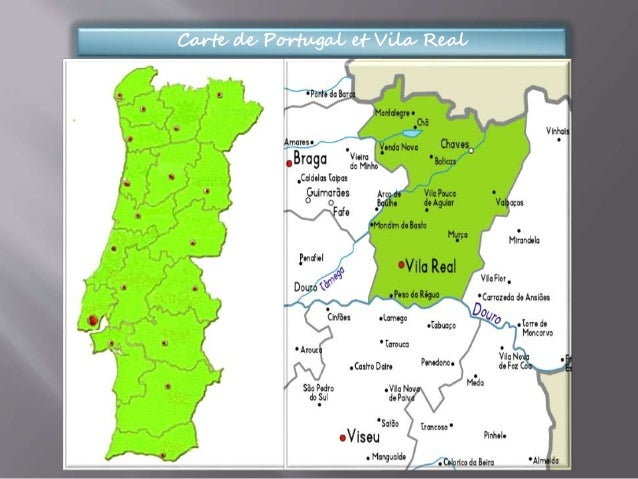 Carte de Portugal et Vila Real