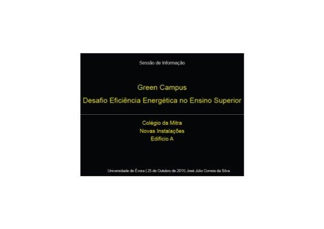 Apresentação Green Campus - Universidade de Évora