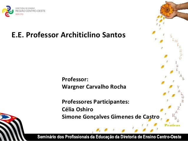 E.E. Professor Architiclino Santos                   Professor:                   Wargner Carvalho Rocha                  ...
