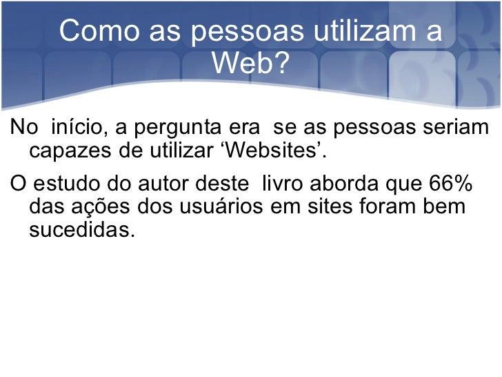 A experiência do usuário na Web Slide 2