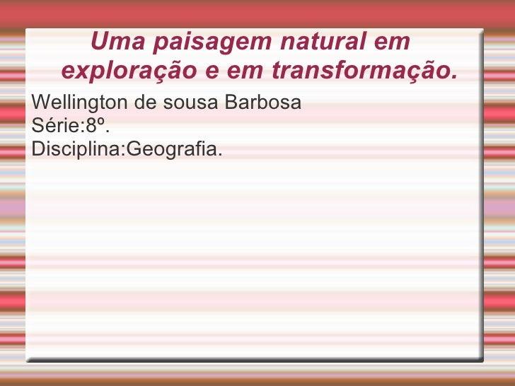 Uma paisagem natural em exploração e em transformação. <ul><li>Wellington de sousa Barbosa