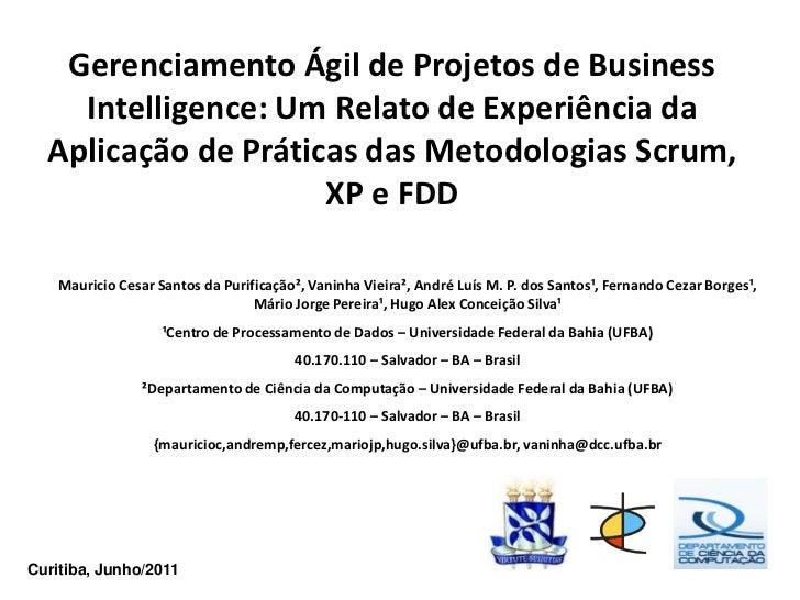 Gerenciamento Ágil de Projetos de Business    Intelligence: Um Relato de Experiência da  Aplicação de Práticas das Metodol...