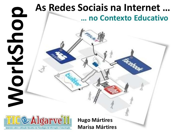 As RedesSociaisna Internet …<br />… no ContextoEducativo<br />WorkShop<br />Hugo Mártires<br />Marisa Mártires<br />