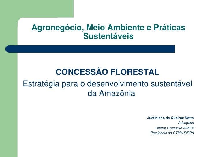 Agronegócio, Meio Ambiente e Práticas               Sustentáveis             CONCESSÃO FLORESTAL Estratégia para o desenvo...