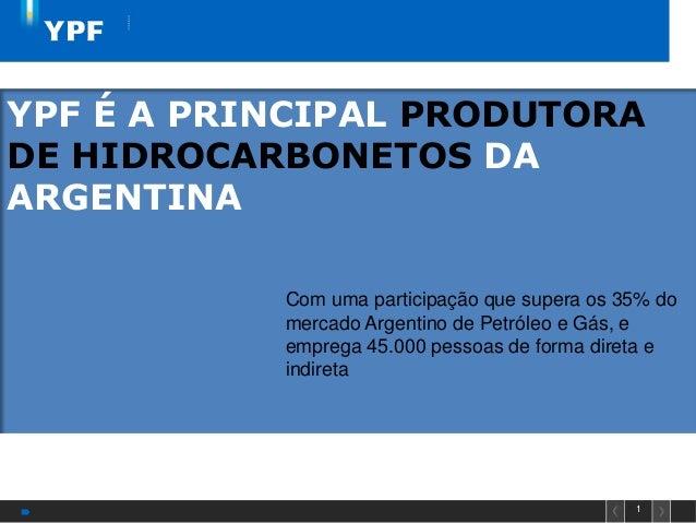 1YPF É A PRINCIPAL PRODUTORADE HIDROCARBONETOS DAARGENTINACom uma participação que supera os 35% domercado Argentino de Pe...