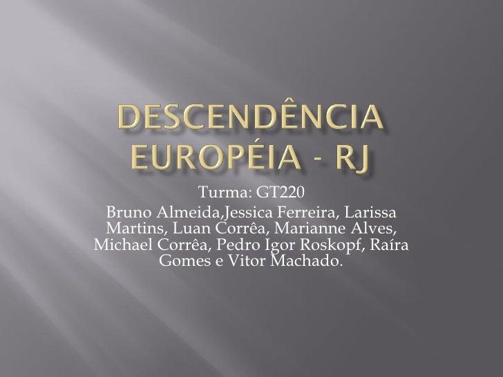 Turma: GT220 Bruno Almeida,Jessica Ferreira, Larissa Martins, Luan Corrêa, Marianne Alves,Michael Corrêa, Pedro Igor Rosko...