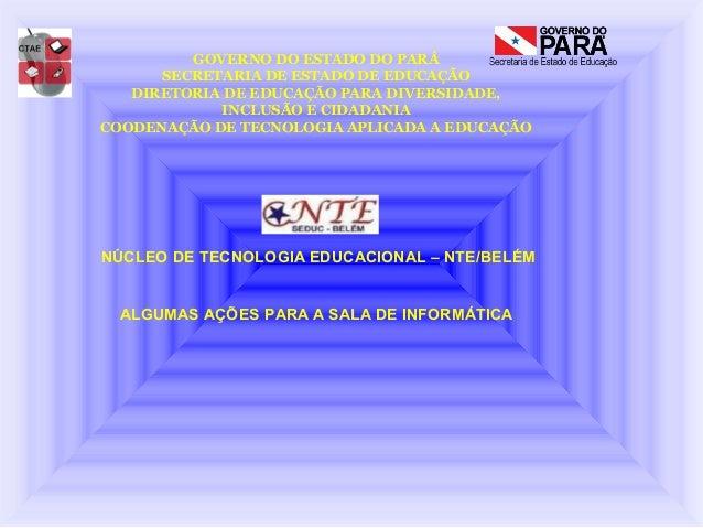 GOVERNO DO ESTADO DO PARÁ      SECRETARIA DE ESTADO DE EDUCAÇÃO   DIRETORIA DE EDUCAÇÃO PARA DIVERSIDADE,            INCLU...