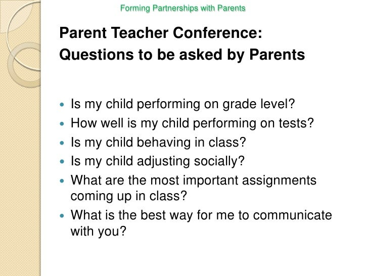 questions to ask at parent teacher conference preschool a presentation forming partnership with parents for slidecast 898