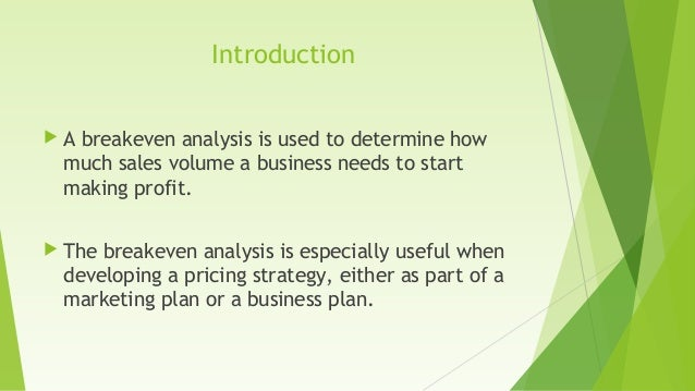 importance of break even analysis pdf