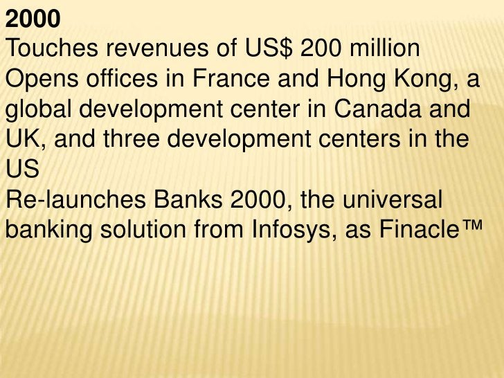 2004Revenues reach US$ 1 billionInfosys Consulting Inc. is launched
