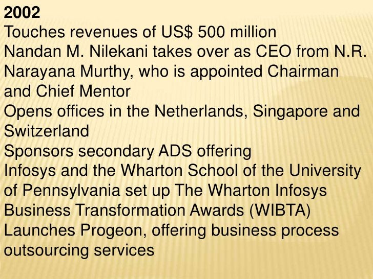 2006Infosys celebrates 25 years. Revenuescross US$ 2 billion. Employees grow to50,000+N. R. Narayana Murthy retires from t...