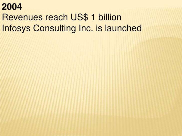 2008Infosys crosses revenues of US$ $4.18 billionAnnual net profits cross US$ 1 billion