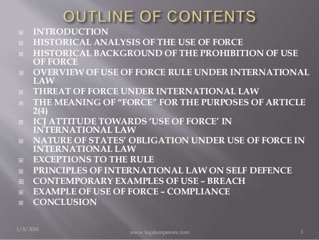 the use of force setting