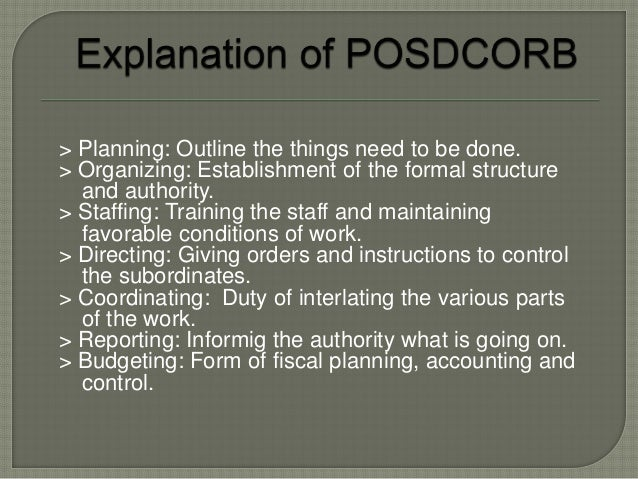 gulick notes on the theory of Gulick's notes on the theory of organization further defines the patterns of posdcorb that document explains how portions of an executive's workload may be.