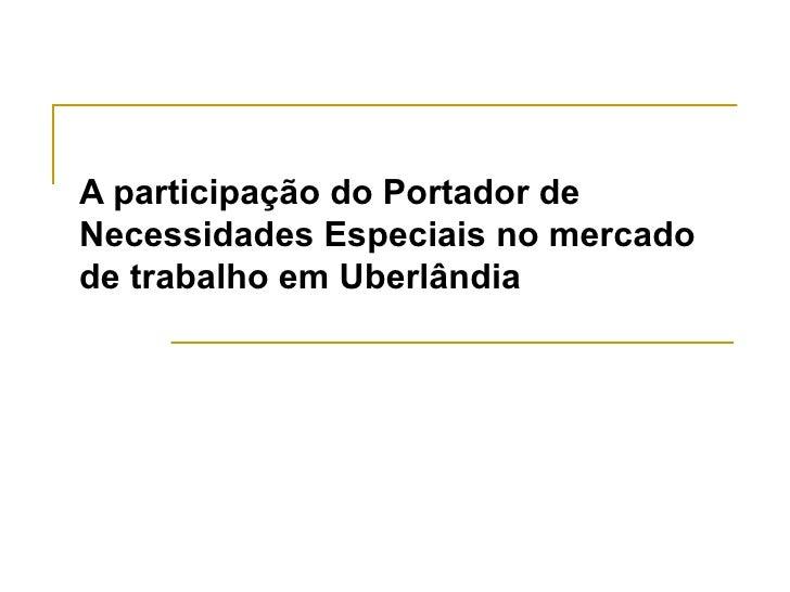 A participação do Portador de Necessidades Especiais no mercado de trabalho em Uberlândia