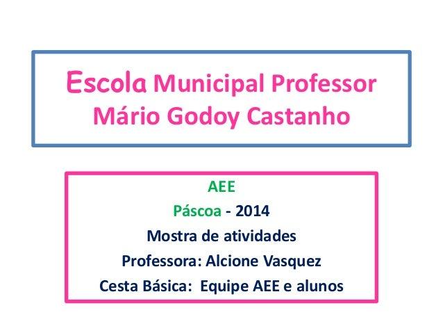 Escola Municipal Professor Mário Godoy Castanho AEE Páscoa - 2014 Mostra de atividades Professora: Alcione Vasquez Cesta B...