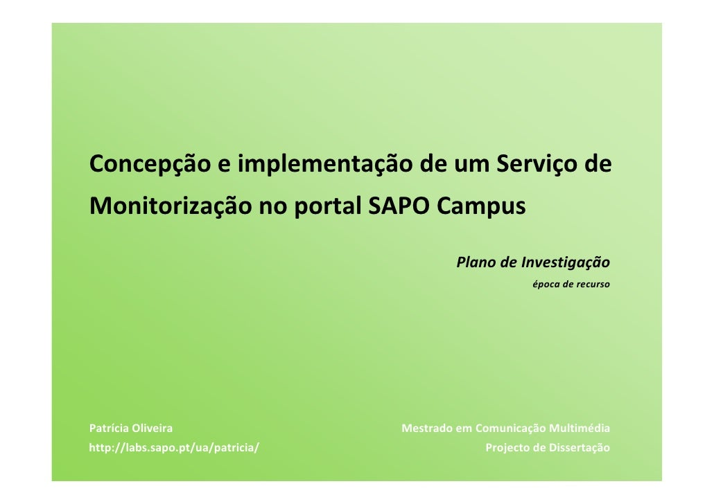 ConcepçãoeimplementaçãodeumServiçode MonitorizaçãonoportalSAPOCampus                                           ...