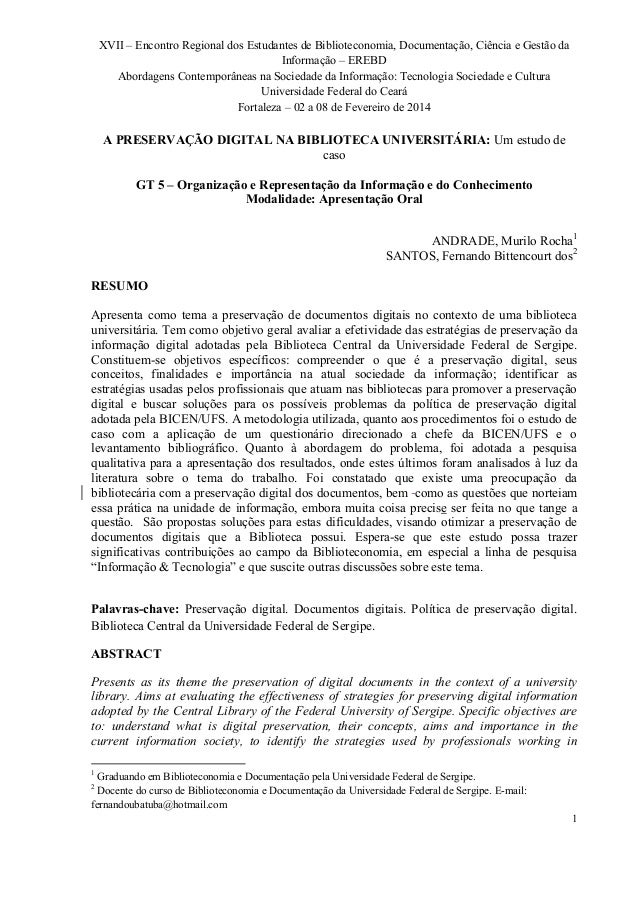 XVII – Encontro Regional dos Estudantes de Biblioteconomia, Documentação, Ciência e Gestão da  Informação – EREBD  Abordag...