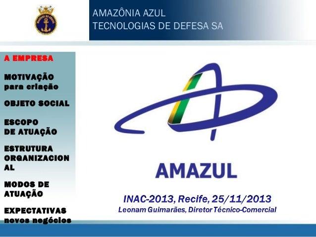 AMAZÔNIA AZUL TECNOLOGIAS DE DEFESA SA A EMPRESA MOTIVAÇÃO para criação OBJETO SOCIAL ESCOPO DE ATUAÇÃO ESTRUTURA ORGANIZA...
