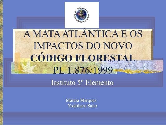 A MATA ATLÂNTICA E OS  IMPACTOS DO NOVO CÓDIGO FLORESTAL     PL 1.876/1999    Instituto 5º Elemento         Márcia Marques...
