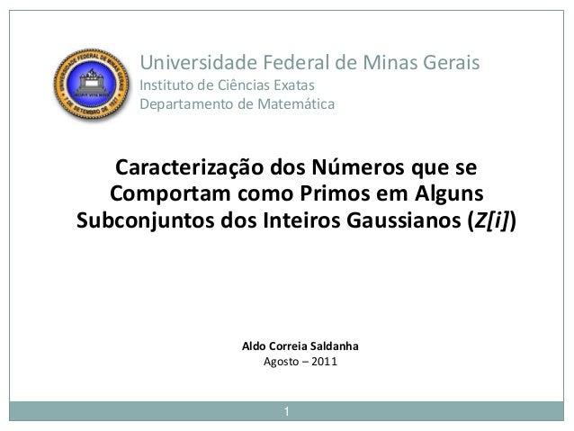 Universidade Federal de Minas Gerais      Instituto de Ciências Exatas      Departamento de Matemática   Caracterização do...