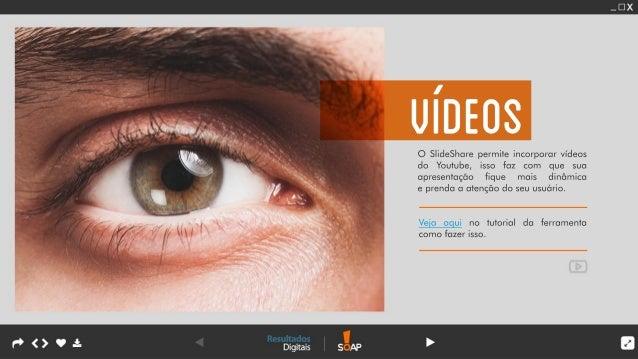 O SlideSharepermiteincorporarvídeos do Youtube,isso faz com que sua apresentação fique mais dinâmica eprendaaatençãodoseuu...