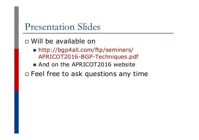 BGP Techniques for Network Operators Slide 2