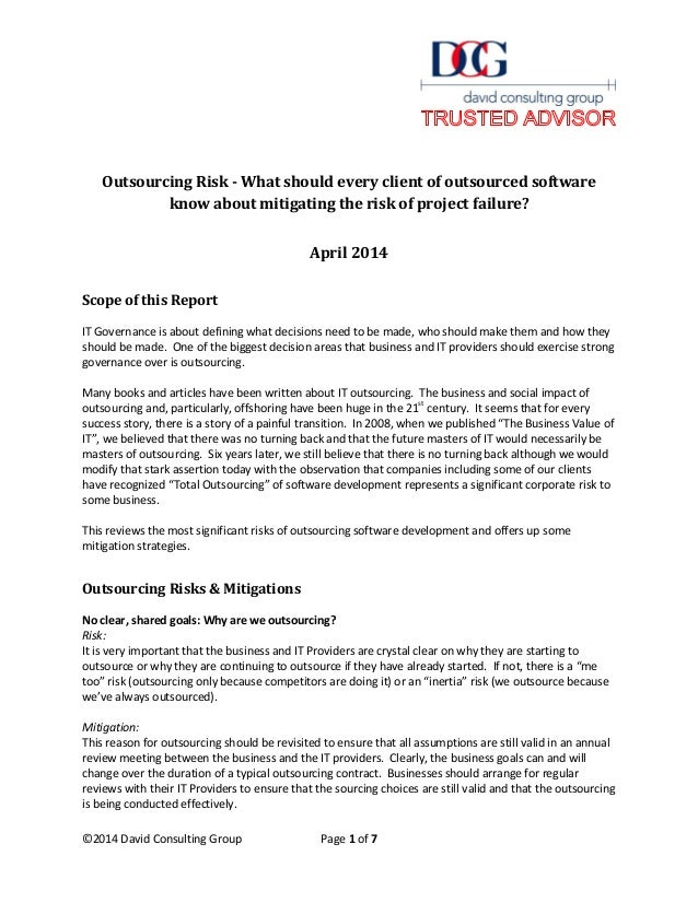 ©2014 David Consulting Group Page 1 of 7 Outsourcing Risk - What should every client of outsourced software know about mit...