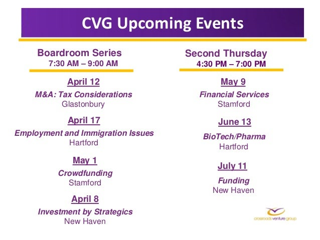 CVG Upcoming Events     Boardroom Series               Second Thursday        7:30 AM – 9:00 AM             4:30 PM – 7:00...