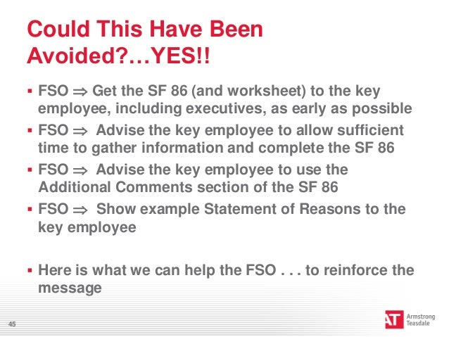 Preventing Personnel Clearance Issues – Sf 86 Worksheet