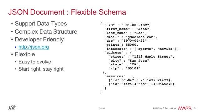 © 2016 MapR Technologies© 2016 MapR Technologies@tgrall 34 JSON Document : Flexible Schema • Support Data-Types • Complex ...