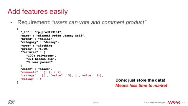 """© 2016 MapR Technologies© 2016 MapR Technologies@tgrall 43 Add features easily • Requirement: """"users can vote and comment ..."""