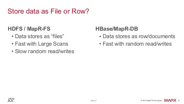 """© 2016 MapR Technologies© 2016 MapR Technologies@tgrall 6 Store data as File or Row? HDFS / MapR-FS • Data stores as """"file..."""