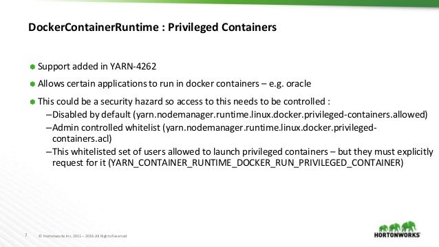 YARN and the Docker container runtime