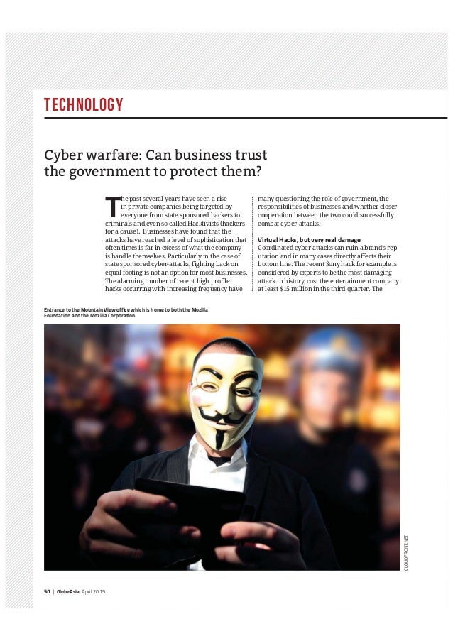 Technology 50 | GlobeAsia April 2015 T he past several years have seen a rise in private companies being targeted by every...